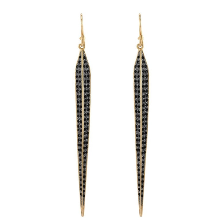 Gold Black Diamondettes Pave Drop Earrings
