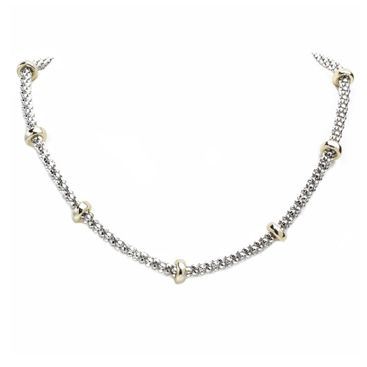 Silver with gold studs necklace
