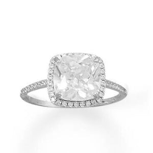 Rhodium Plated Square CZ Ring with CZ Edge