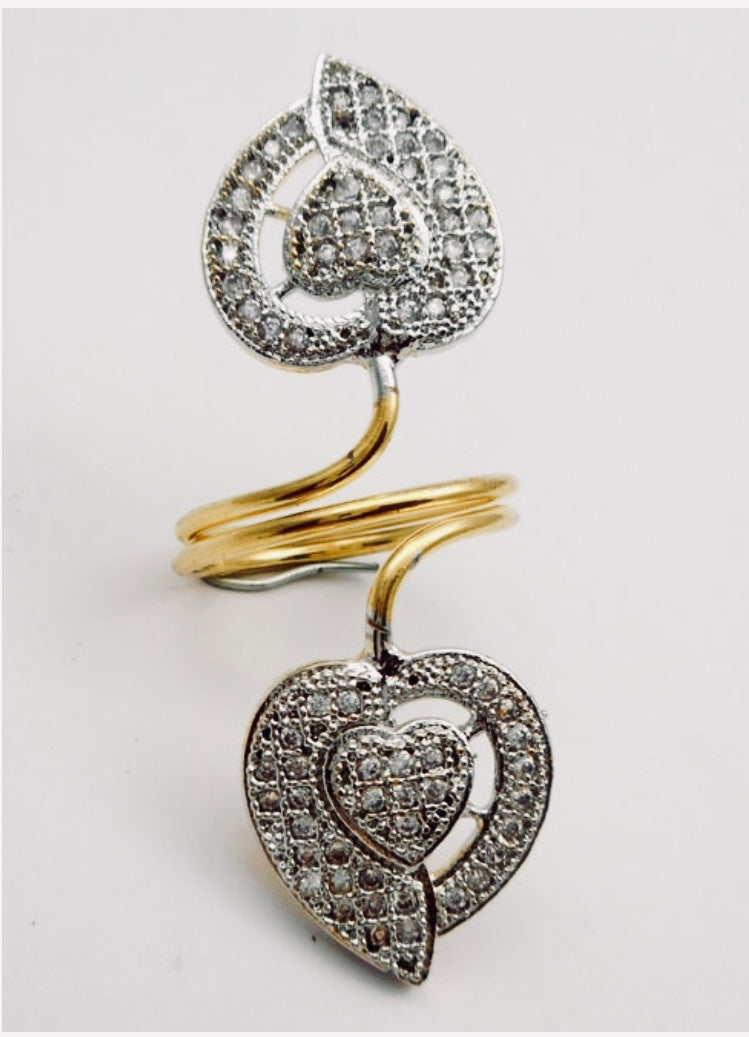 Cubic Zirconia Heart Shaped Cocktail Ring