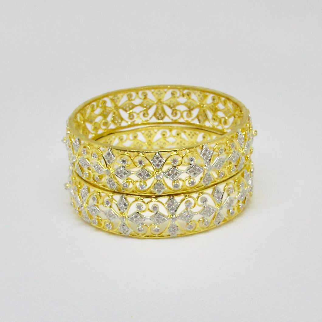 Gold with Zirconia Design Bangles
