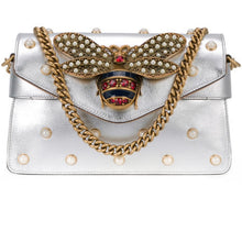Load image into Gallery viewer, Gucci Broadway Pearly Bee Shoulder Bag Silver