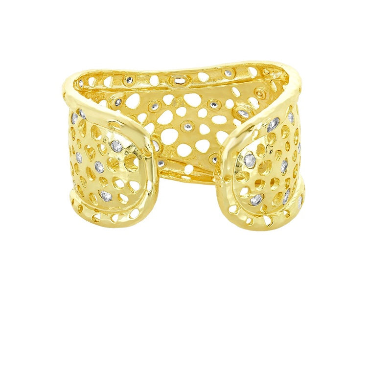 Gold Cuff with Holes and Diamondettes
