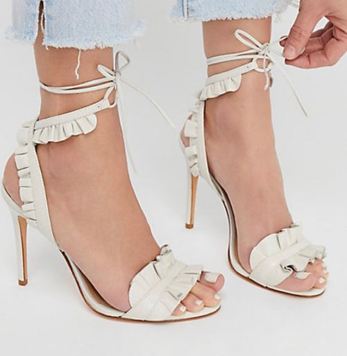 Schultz White Leather Ruffle Sandals