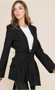 Black Front Pleated Jacket