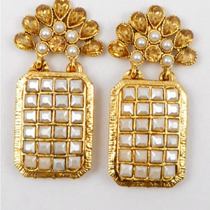 Gold  Crystal With Pearls Earrings