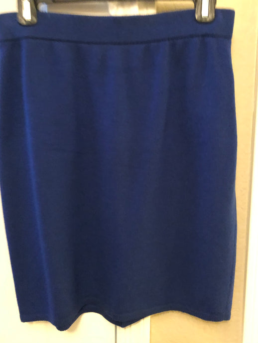 St John Navy Knit Skirt with Gold Buttons