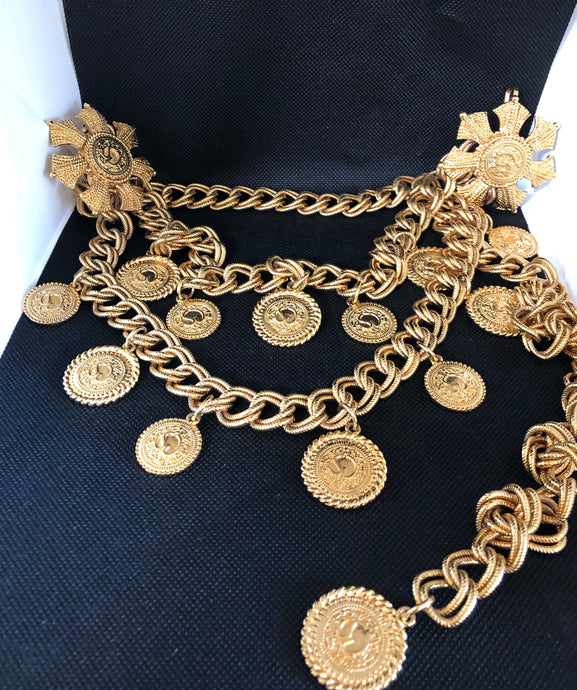 St John Triple Layer Coin Gold Belt