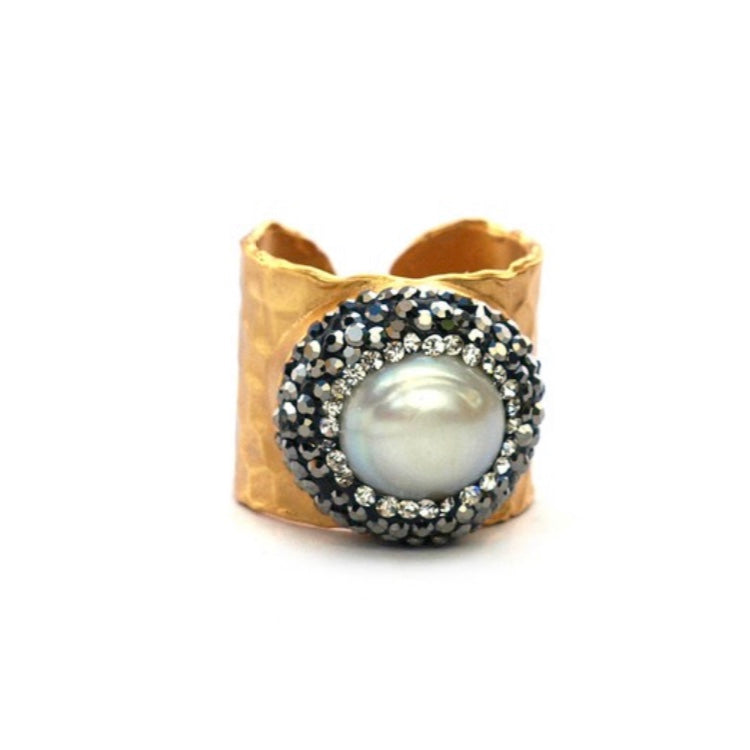 Gold with Natural Pearl and Pave Crystal Ring