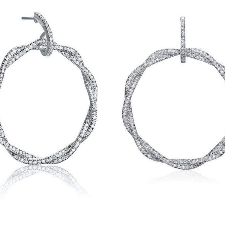 Silver Twisted with Cubic Zirconia Dangling Earrings