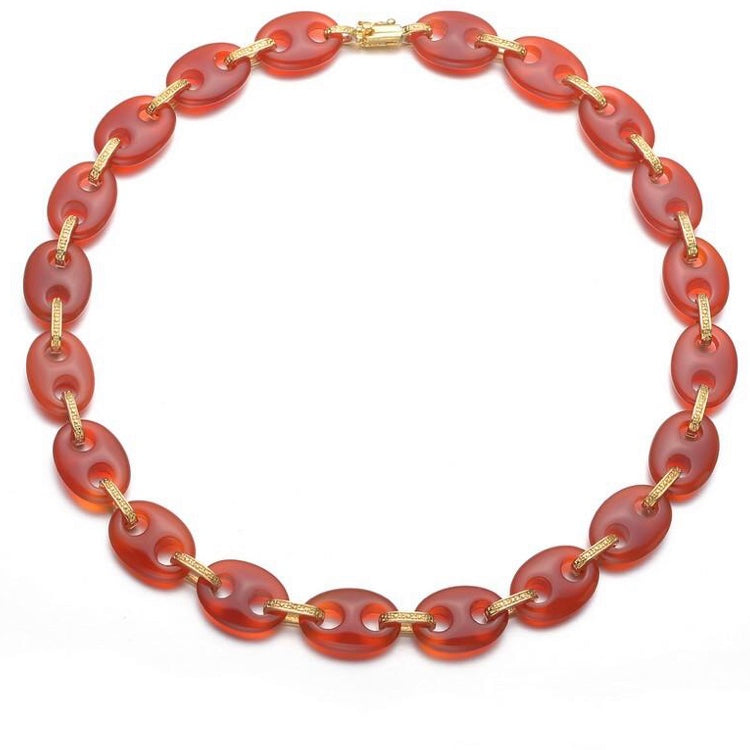 Sterling Silver Gold Coral Agate Oval Necklace