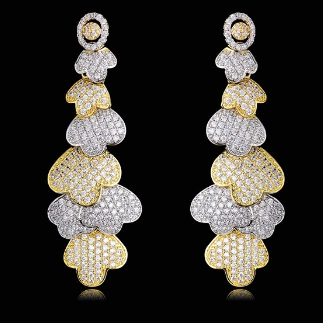 Multi Stone Floral Cubic Zirconia Dangling Earrings
