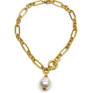 Ben Amun 24 Kt Gold Link and Pearl Necklace