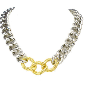 Silver and gold link necklace