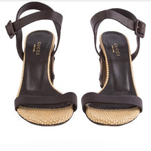 Load image into Gallery viewer, Gucci Brown Bamboo Heel Sandals