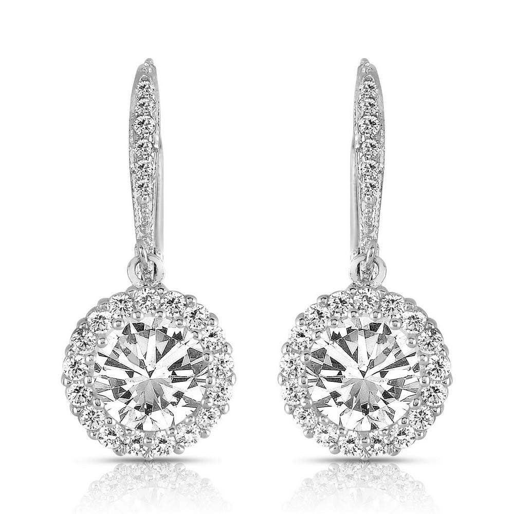 Silver with Cubic Zirconia Drop Earrings