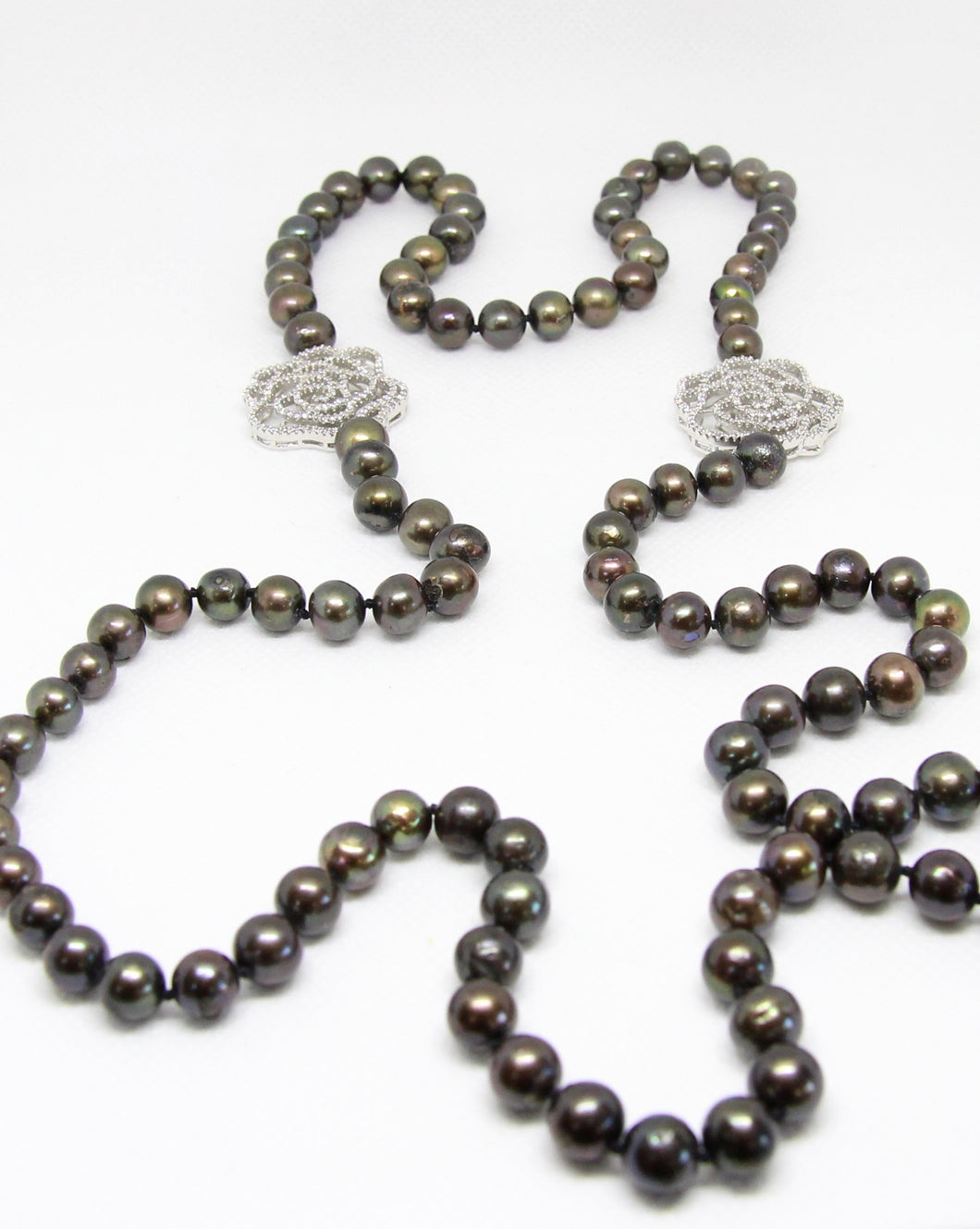 Grey Long Pearl with floral Cubic Zirconia Necklace