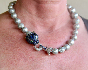 Fresh Water Pearl with Blue and White Zirconia Clasp