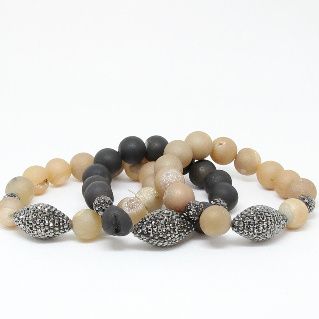 Stone and pave crystal stretch bracelets