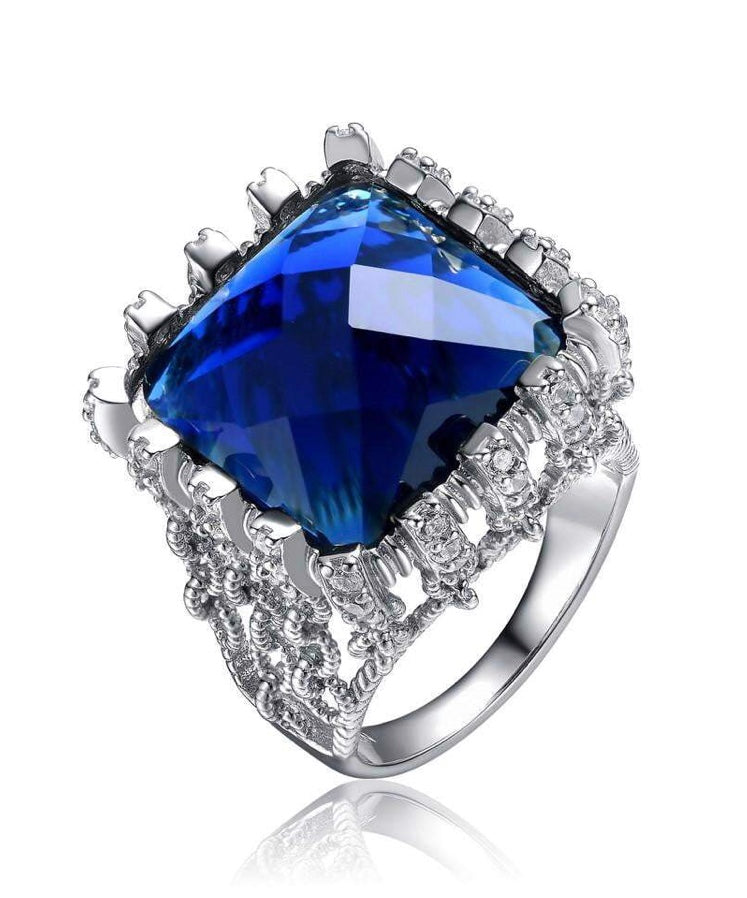 Silver with Royal Blue Solitaire Cocktail Ring