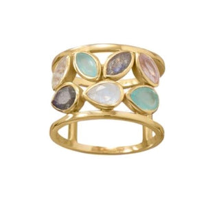 14 KT Gold Plated Multi Stone Ring