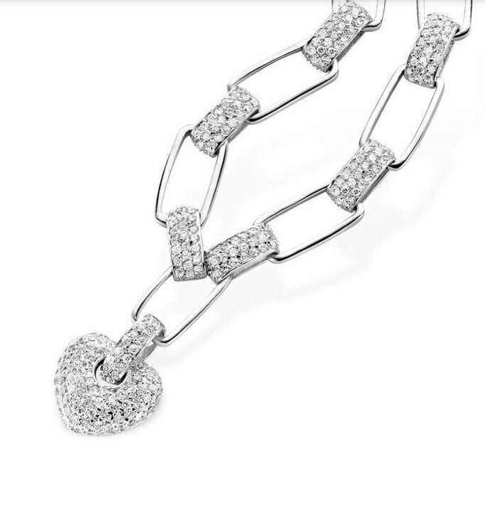 Silver Cubic Zirconia Heart Drop Necklace