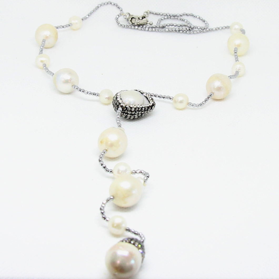 Fresh Water Pearl Silver Lariat Necklace
