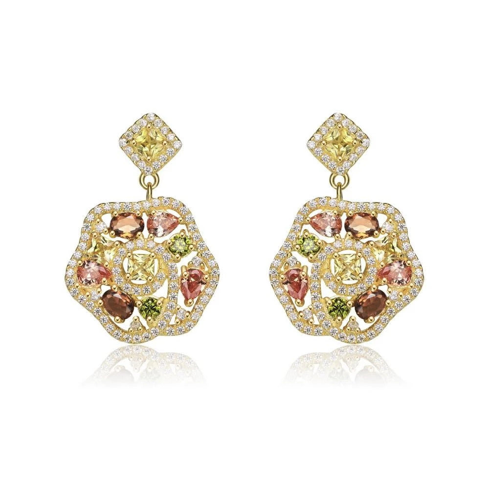 Silver Multi Color Cz Flower Earrings
