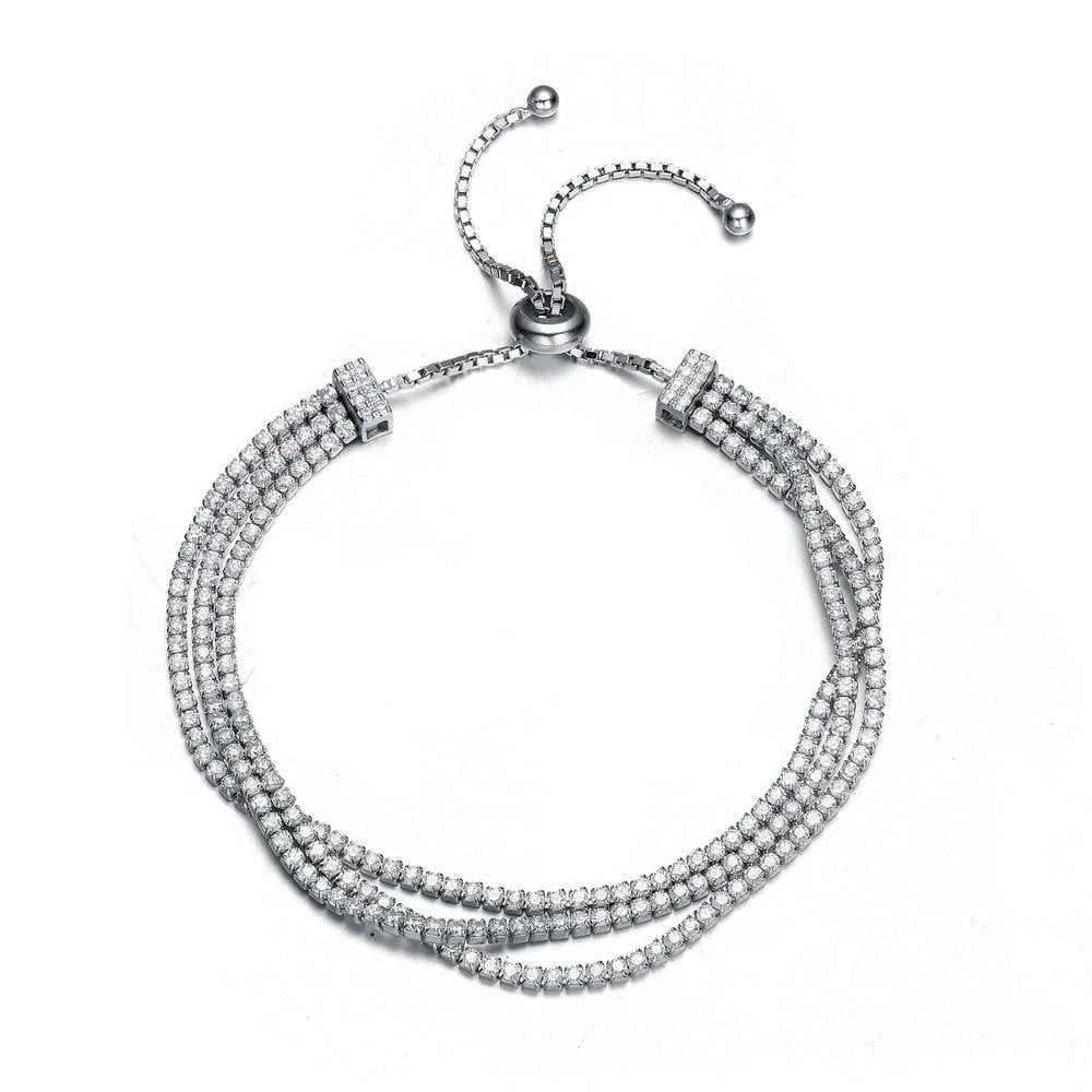 Silver Clear CZ Twisted Strand Bracelet