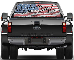 American Flag We Are The People Rear Window See-Through Net Decal