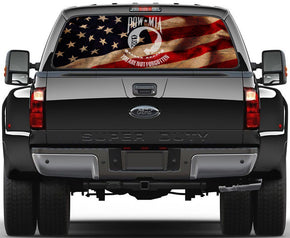 USA Flag Pow Mia Rear Window See-Through Net Decal
