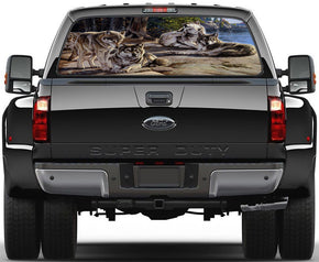 4 Wolves Flock Rear Window See-Through Net Decal