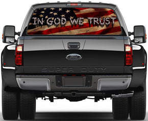 En Dieu, nous faisons confiance USA Flag Car Rear Window See-Through Net Decal