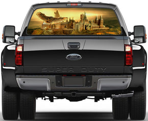 Harry Potter Hogwarts Castle Car Rear Window See-Through Net Decal 404