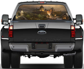Harry Potter Hogwarts Castle Car Rear Window See-Through Net Decal 405