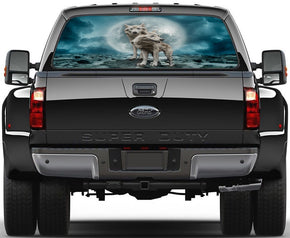 White Wolves Full Moon Car Rear Window See-Through Net Decal
