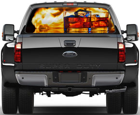 Whiskey Alcohol Drinks Pub Bar Car Rear Window See-Through Net Decal