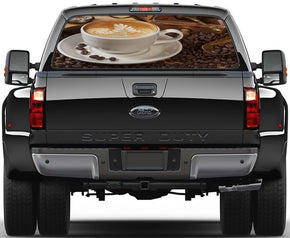 Coffee Breakfast Car Rear Window See-Through Net Decal