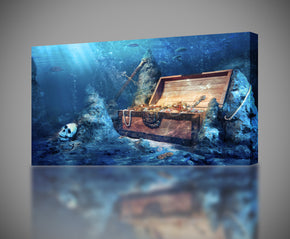 PIrates Treasure Ocean Canvas Print Giclee