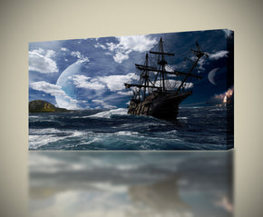 PIrate Ship Ocean Canvas Print Giclee