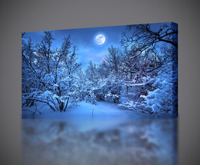 Snowy Forest Trees Full Moon Canvas Print Giclee