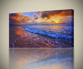 Beach Purple Sunset Impression sur toile