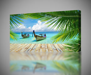 Exotic Beach Docking Boats Canvas Print Giclee