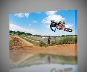 Motocross Extreme Motorcycle Canvas Print Giclee