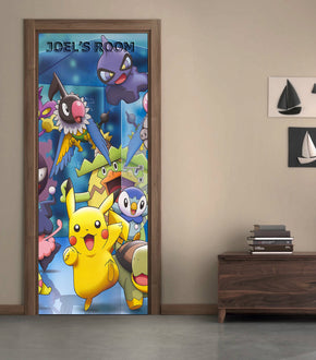 POKEMON Personalized DOOR WRAP Decal Removable Sticker D05