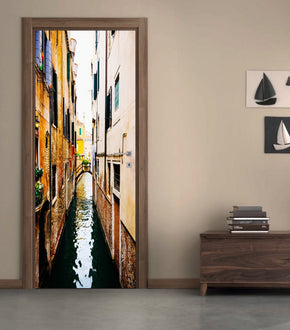 Venice Cannal DIY DOOR WRAP Decal Removable Sticker D102