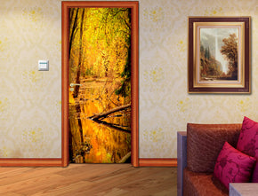 Yellow Forest Trees DIY DOOR WRAP Decal Removable Sticker D106