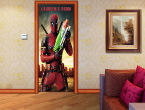 Deadpool Personalized Name DOOR WRAP Decal Removable Sticker D140