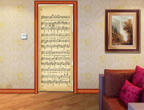 Musical Notes Sheet DIY DOOR WRAP Decal Removable Sticker D155