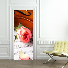 Violin Musical Notes DIY DOOR WRAP Decal Removable Sticker D156